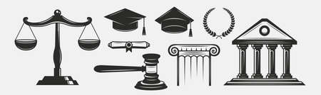 Justice, Law vintage set. Justice scales, gavel, courthouse. Lawyer icons set isolated on white background. Lawyer, advocate, notary templates. Vector illustration