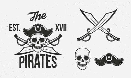 Pirates icons set. Crossed swords, skull and pirate hat isolated on white background. Vintage pirate icons