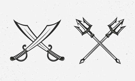 Pirate saber swords and Poseidon tridents. Nautical icons isolated on white background. Nautical template. Vector illustration