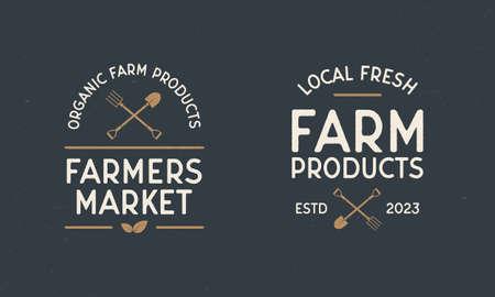 Farmers Market vintage labels. Organic food store with shovel and pitchfork. Label, badge, poster for Farmer's market, grocery store, food store. Vector illustration