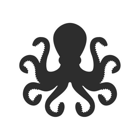 Vector Octopus silhouette. Octopus silhouette icon isolated on white background. Ilustração