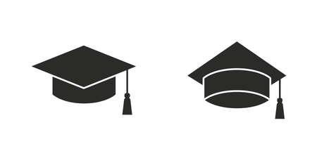 Graduation cap, Education cap icon set isolated on white background. Scholarship icon. Graduation ceremony icons. Vector illustration Ilustração