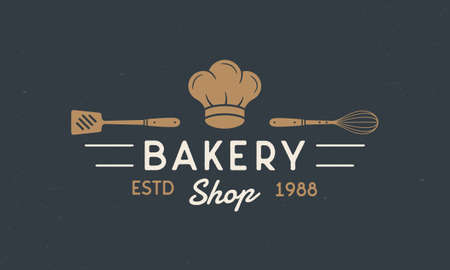 Bakery Shop - vintage concept. of Bakery, Bakery House with chef hat, Spatula and Whisk. Bread house template. Grunge texture. Vector illustration