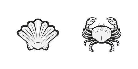 Vintage nautical and ocean icons. Shell, Crab icons isolated on white background. Crab and Shell silhouettes. Vector illustration