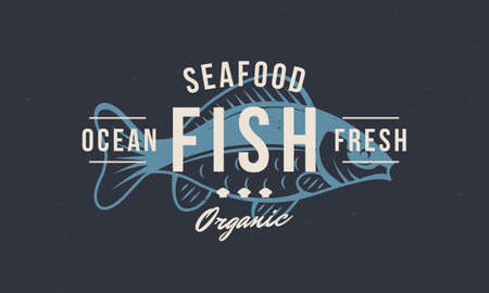 Fish vintage . Seafood fish stamp, print, label. Modern design poster. Retro poster for restaurant, meat shop, butchery, seafood. Fish icon silhouette. Vector illustration