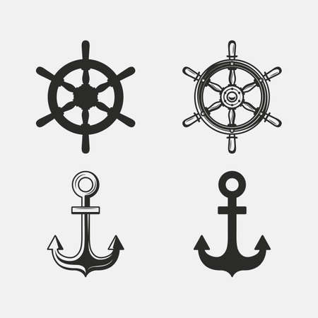 Vintage Nautical icon set. Anchor, Ship Wheel icons isolated on white background. Anchor and steering wheel silhouette. Vector illustration