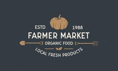 Farmer vintage . Farmers Market template with shovel and pitchfork. Modern design poster. Label, badge, poster for Farmer's market, grocery store, food store. Vector illustration