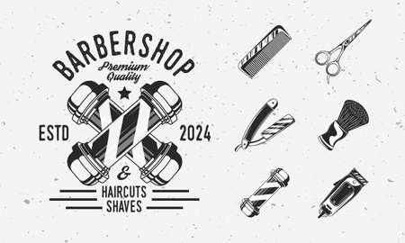 Barbershop vintage hipster with barbershop equipments. Barber pole, Razor blade, hair clipper, scissors, comb. Barber elements for , badge, label, poster, t-shirt print. Vector illustration