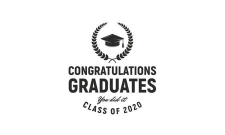 Graduation ceremony vintage template. Congratulations graduates label concept. Class of 2020. Vector illustration