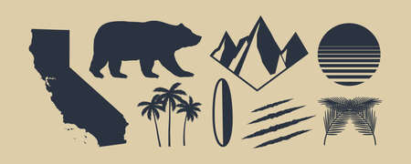 Set of 8 symbols of California. California map, palm trees, mountains. Bear and Scratch claws. California retro sun. Vintage elements for design , poster, print for t-shirt. Vector illustration