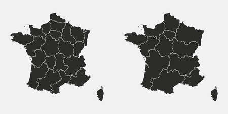 Set of France map. Vector France map isolated on white background. France maps with states. Vector illustration