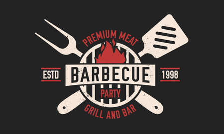 Barbecue vintage . BBQ party template with spatula and grill fork. Modern design poster. Label, badge, poster for steak house, barbecue party, restaurant. Vector illustration