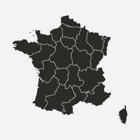 France map isolated on white background. France map with regions, states. Vector template.