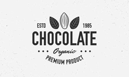 Cocoa Beans, Chocolate, Cacao  poster. Chocolate trendy design with Cocoa Bean and leaves. Vector emblem template. Ilustração