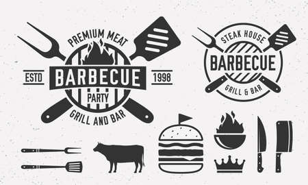 Vintage Barbecue design with bbq utensils. Steak House   template with grill fork, spatula, burger, beef. Emblem set for Restaurant business. Butchery, Barbecue, Steak House.  Vector illustration
