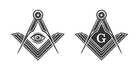 Freemasonry vintage emblem. Freemason, Mason, Illuminati conspiracy  template. Vector illustration