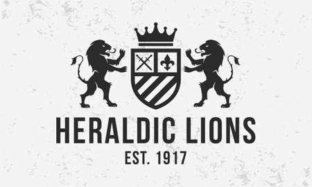 Royal vintage design. Heraldic crest  template   with standing lions . Modern design poster. Ilustração