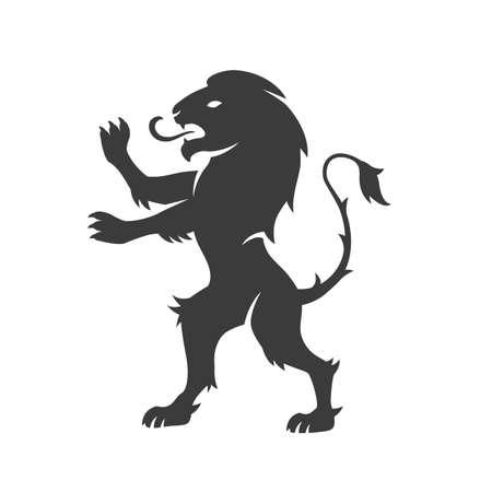 Heraldic lion. Lion silhouette for Coat of Arms. Ilustração