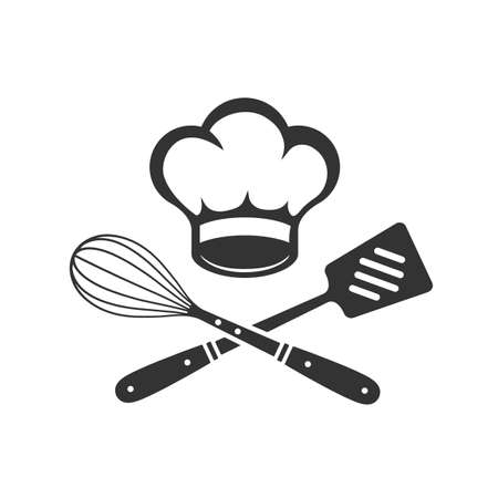 Chef Hat with cooking whisk and spatula. Label, badge, poster for food studio, cooking courses, culinary school. Ilustração