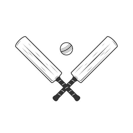 Cricket bat and ball icons isolated on white background. Crossed Cricket bats. Ilustração