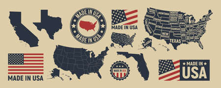 Vector USA map, label . USA patriotic set. United States vintage typography. Texas, California, Florida map. United States of America blank and poster map. Print for t-shirt. Poster for pub, bar.