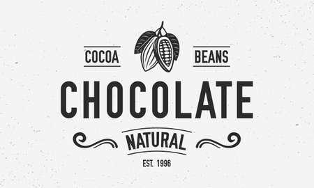 Chocolate - vintage  concept. Cocoa Beans, Chocolate, Cacao. Ilustração