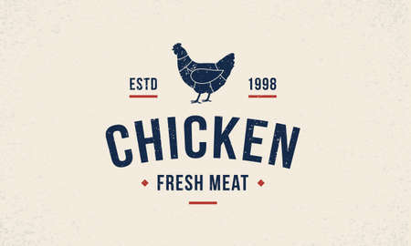 Chicken meat  emblem, poster with hen silhouette. Vintage typography. Graphic emblem for butcher shop, meat shop, restaurant, bbq and grocery store. Vector illustration