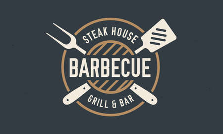 Grill Steak House with  grill fork, spatula. Barbecue tools icons. Graphic emblem template for barbecue, steak house, restaurant. Poster vintage design. Vector illustration