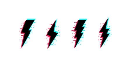 Vector set of lightnings with glitch effect. Thunderbolt icons in distorted glitch style. Ilustração