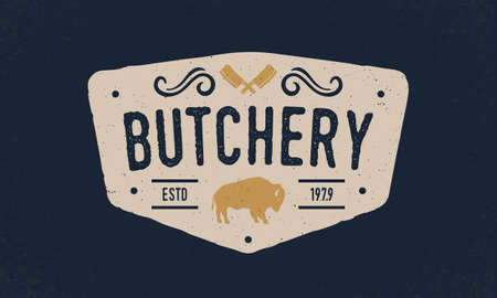 Butcher shop trendy  emblem, poster with meat cleavers. Vintage typography. Graphic emblem for barbecue, steak house, butchery and meat shop. Vector illustration