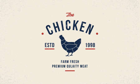Chicken meat poster template. Hen silhouette. Poultry hipster logo design. Vintage typography. Illustration