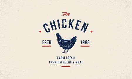 Chicken meat poster template. Hen silhouette. Poultry hipster logo design. Vintage typography. Ilustração