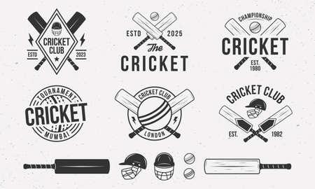 Cricket emblems,  badges templates. Set of 6 Cricket  design elements. Cricket bat, ball and helmet isolated on white background. Cricket team vector emblems