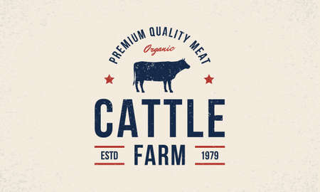 Cattle farm trendy  emblem, poster with cow silhouette. Vintage typography. Graphic emblem template for grocery store, food market, restaurant and butchery Vector illustration Ilustração