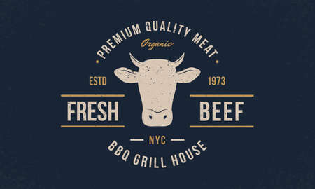 Fresh Beef trendy emblem, poster with Cow Head. Vintage typography. Graphic emblem template for barbecue, steak house, restaurant, butchery and meat shop. Vector illustration Illustration