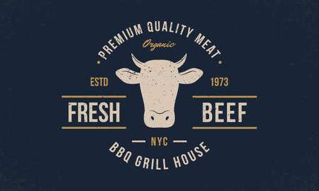 Fresh Beef trendy emblem, poster with Cow Head. Vintage typography. Graphic emblem template for barbecue, steak house, restaurant, butchery and meat shop. Vector illustration Ilustração