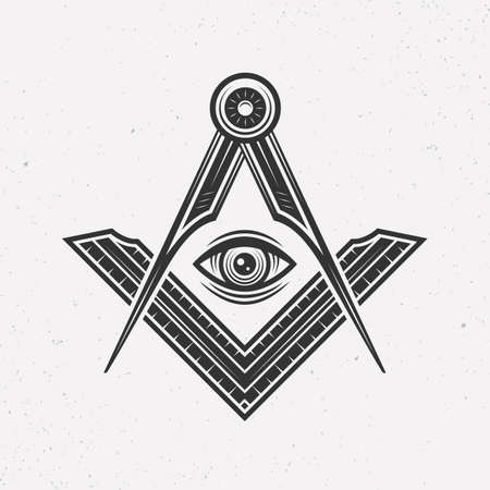 Illuminati   concept. Freemasonry, Illuminati conspiracy  template. Vintage typography. Print for t-shirt. Tattoo design. Vector illustration
