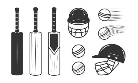 Cricket set isolated on white background. Cricket bat, ball and helmet.