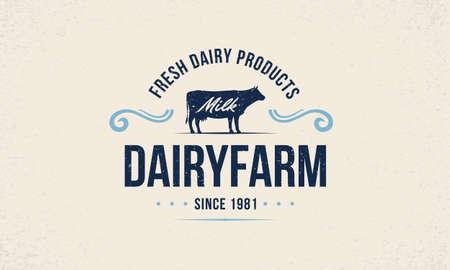 Dairy farm trendy   emblem, poster with cow silhouette. Vintage typography. Graphic emblem template for grocery store, food market, restaurant. Vector illustration Ilustração