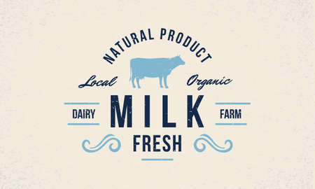 Milk fresh  . Dairy farm trendy   emblem, poster with cow silhouette. Vintage typography. Graphic emblem template for grocery store, food market, restaurant. Vector illustration