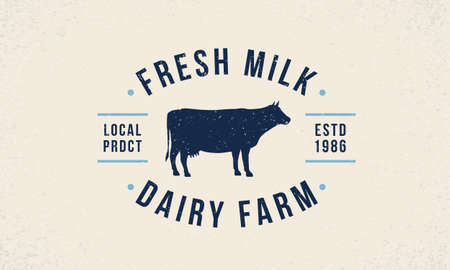 Cow Milk  . Fresh trendy milk   emblem. Poster with cow silhouette. Vintage typography. Poster template for grocery store, food market, restaurant, package design. Vector illustration Illustration