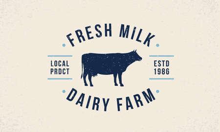 Cow Milk  . Fresh trendy milk   emblem. Poster with cow silhouette. Vintage typography. Poster template for grocery store, food market, restaurant, package design. Vector illustration Ilustração