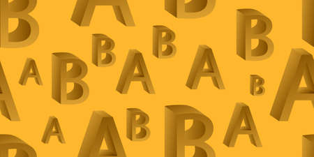 Seamless background of 3D letters. Vector illustration. Scattered letters Ilustrace
