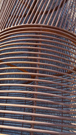 Rusty fittings. Metal structures made of rods