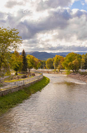 river in the city in autumn. Europe, Slovakia. High quality photo