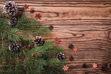 Christmas decoration on wooden background, Christmas card ,close-up. Top view