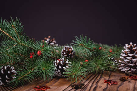 Christmas decoration on wooden background, Christmas card ,close-up. 写真素材