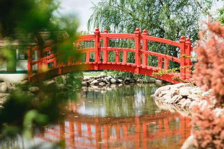 garden decor, red bridge. Chinese style.
