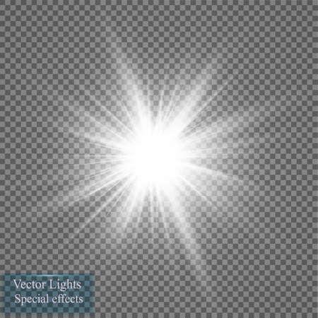 Effet de la lumière fulgurante. Starburst avec des étincelles sur fond transparent. Illustration vectorielle.