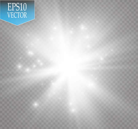 fade: Glow light effect. Starburst with sparkles on transparent background. Vector illustration.